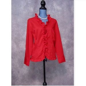 NWT CJ Banks Red Ruffled Blouse Size X